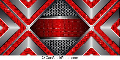 Abstract dark textural background with a metal shade frame and arrows