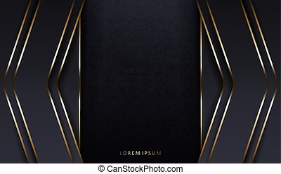 Abstract dark texture composition with gray arrows and frames with a gold border