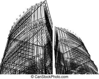 abstract, de bouw., 3d, render