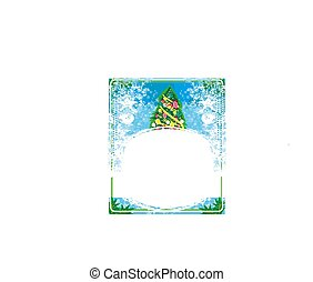 Abstract decorative card with Christmas tree