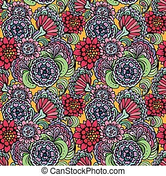 Abstract decorative seamless pattern with hand drawn floral elements