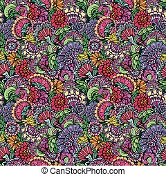 Abstract decorative seamless pattern with hand drawn floral elem