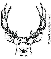 Abstract deer head tribal tattoo
