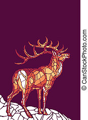Abstract deer on the rock. Styled stained glass. Mosaic Stag