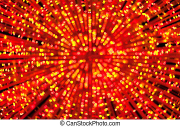 Abstract defocused gold and red lights