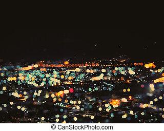 Abstract defocused night light cityscape