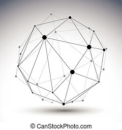 Abstract deformed vector black and white lattice figure,...