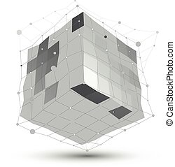 Abstract deformed vector monochrome object with lines mesh isolated on white background, complicated grid cube.