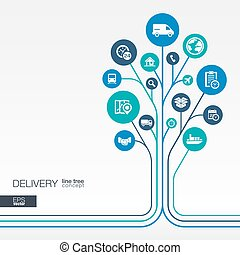 Abstract Delivery background. Growth tree idea - Abstract...