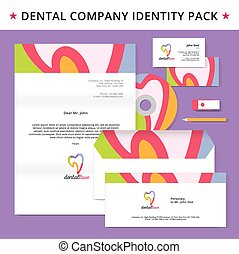 Abstract dentist tooth identity pack vector concept. Logo,...