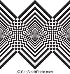Abstract descending black diamonds double perspective hypnotical structure on transparency background