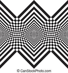 Abstract descending black diamonds double perspective...
