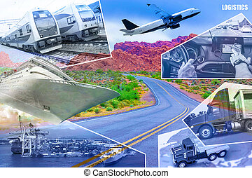 Abstract design background. Trucks and transport