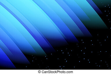 Abstract design - blue glowing wave,  fantasy energy and light motion on a starry background.