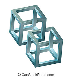 Abstract design,3D impossible figure. Vector illustration.