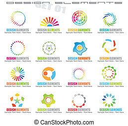 Abstract Design Elements - Set 1 - Collection of 16 colorful...
