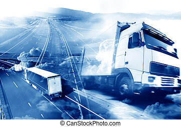 Abstract Design international shipment and highway - ...