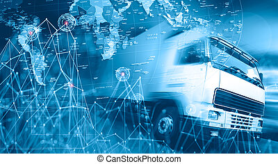 Abstract Design international shipment and highway. Logistics business