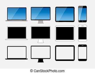 Abstract Design Mobile Phone, Laptop and Tablet PC. Vector...
