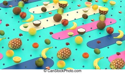 Abstract design of 3D stylish fruits
