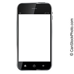 Abstract design realistic mobile phone with blank screen isolated on white background..Vector illustration