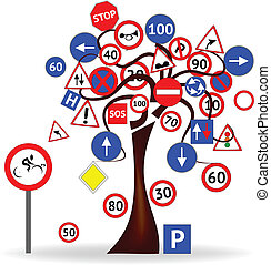 Tree with road signs - Abstract Design - Tree with road...