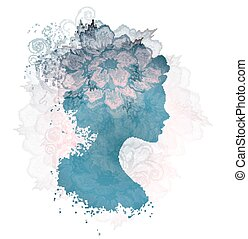Silhouette Floral Woman
