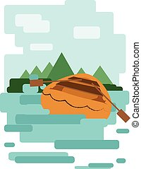 Abstract design with a wooden boat