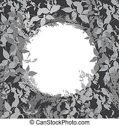 Abstract design with black leaf silhouette card for your text in circle. Vector