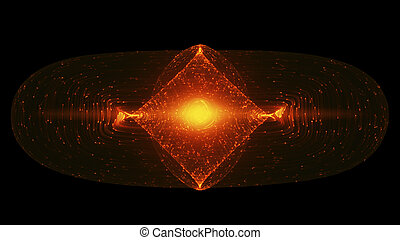 Abstract Design With Glowing Light Particles Orbiting Around A Tokamak Or Doughnut-Shaped Device. Concept  Antigravity, Magnetic Field, Singularity, Gravitational Waves And Spacetime