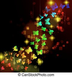 Abstract design with glowing nocturnal butterflies on a dark background.
