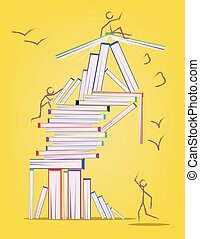 Abstract design with many books and