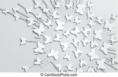 Abstract design with paper butterfly on the background of explosion form.