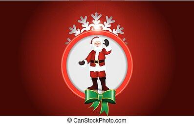 Abstract design with snowflake, ribbon and santa claus