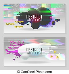 Abstract Designs in Glitch Style. Trendy Background...