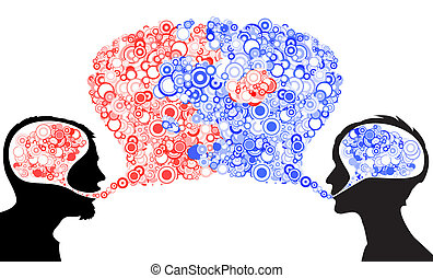 Abstract dialog illustration - Dialog between man and woman