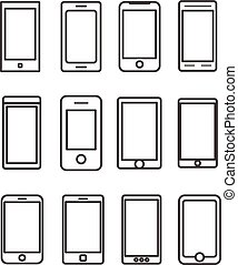 Abstract different mobile gadgets collection. Design elements