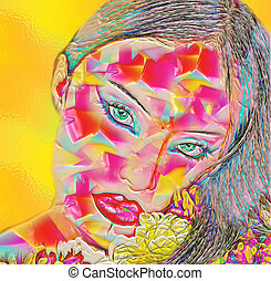 Abstract digital art woman's face