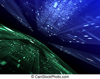 Abstract digital background - Abstract blue and green...