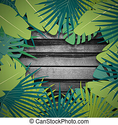 Abstract digital background with colorful palm leaves greenery and wood texture