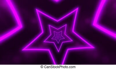 Abstract digital background with neon purple stars forming tunnel. CG animation 3d rendering. Seamless loop. Motion animated background neon lights neon dot lighting.