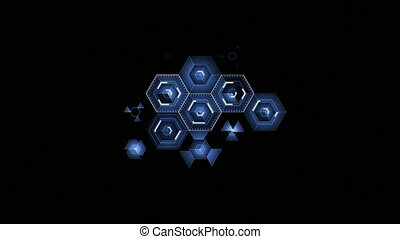Abstract Digital Blue Hexagon Icons Drawing on Black...