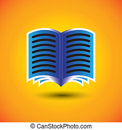 abstract digital book or e-book sign on orange background - ...