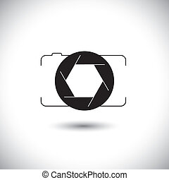 abstract digital camera & shutter icon outline front view. This vector graphic is simple vector representation of trendy photographic tool for taking photos & videos