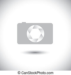 abstract digital camera & shutter sign front view vector.