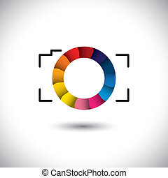 abstract digital camera with colorful shutter vector icon front view. This graphic is simple vector representation of trendy lens of SLR or point & shoot camera for taking photos & videos
