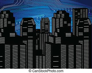 abstract digital city