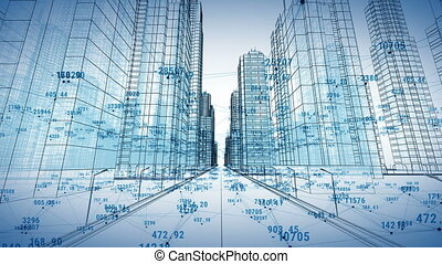 Abstract Digital City with Numbers and Grids. Flying Through the 3d Blueprint. Business and Technology Concept. Blue color 3d animation.