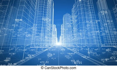 Abstract Digital City with Numbers and Grids. Moving Through the 3d Blueprint. Business and Technology Concept. Blue color 3d animation.