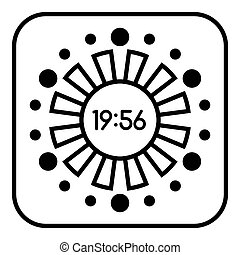 Abstract digital clock icon, outline style